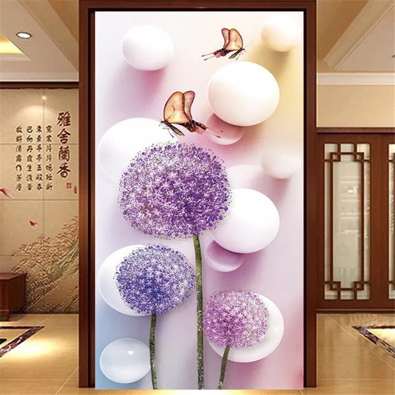 CD1129 Crystal 5D Allium (Round Purple )Flower Cm.45*80