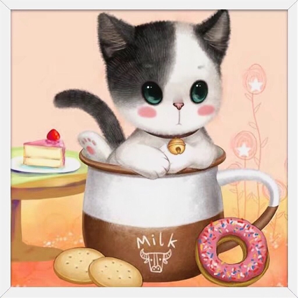X077 Frame Crystal Cute Cat in a Cup Doughnut