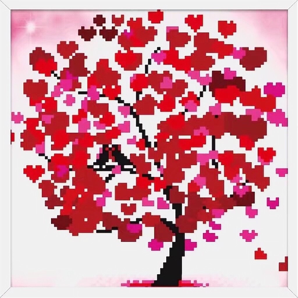 X042 Frame Crystal Red Heart Tree