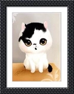 CD1117 Crystal 5D Cat Black&White Cm.30*40full