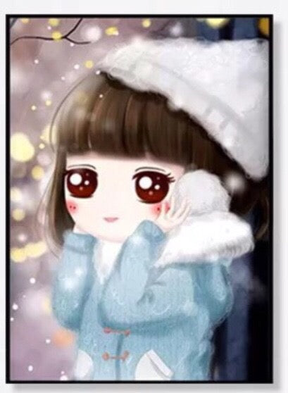 CD1107 Crystal 5DWinter Girl White Hat 30x40cm.  (Full/Whole Crystal)