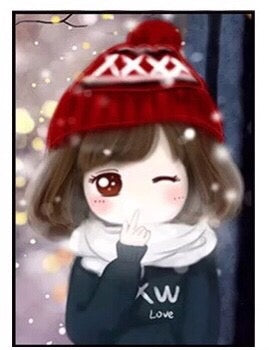 CD1106 Crystal 5DWinter Girl Red Hat  30x40 cm. (Full/Whole Crystal)