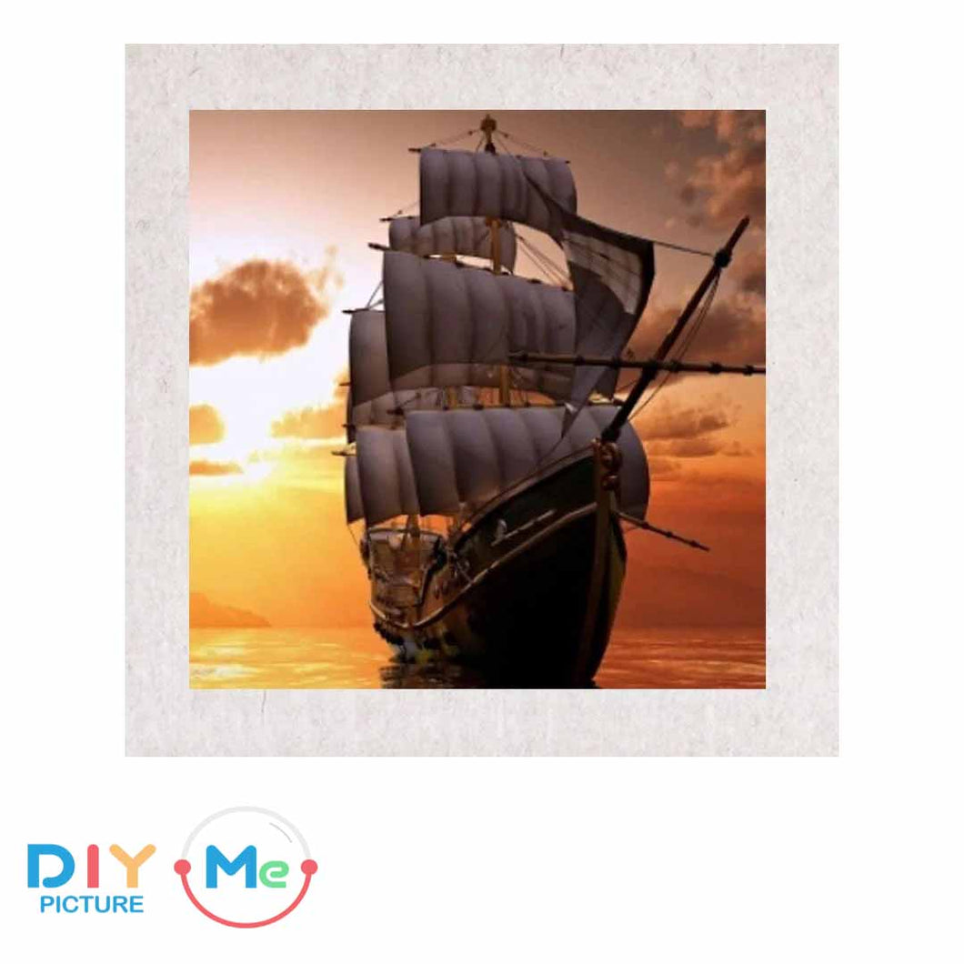 D59313 Crystal 3D Barque at Sunset20*30