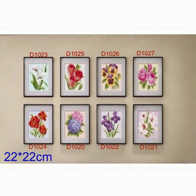 D1020 Crystal 3D Flowers Set 22*22cm