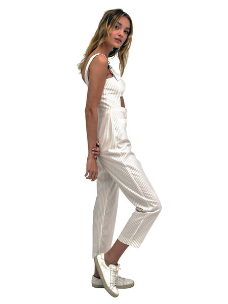 CUT OUT OVERALLS PINSTRIPE