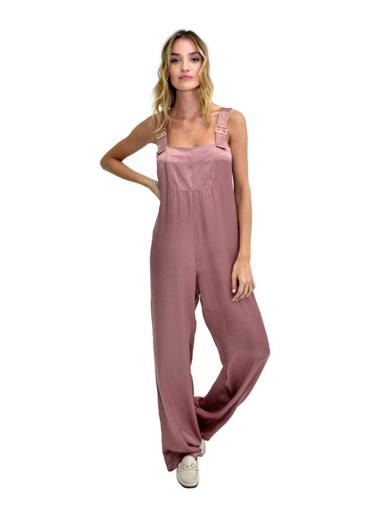 SATIN OVERALLS DUSTY ROSE