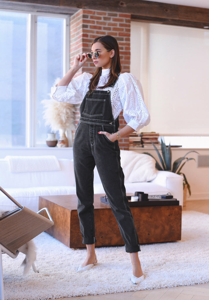 BLACK VINTAGE STYLE BASIC OVERALL