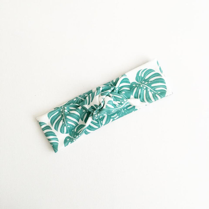 Green Monstera TopKnot Headband