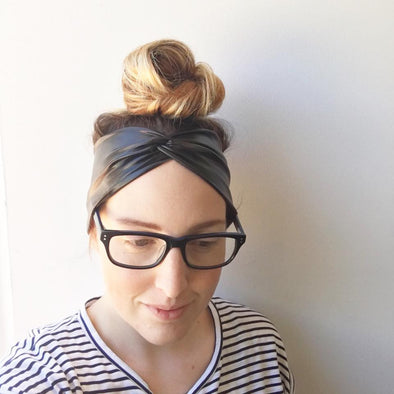 Black Leatherette WideKnot Headband