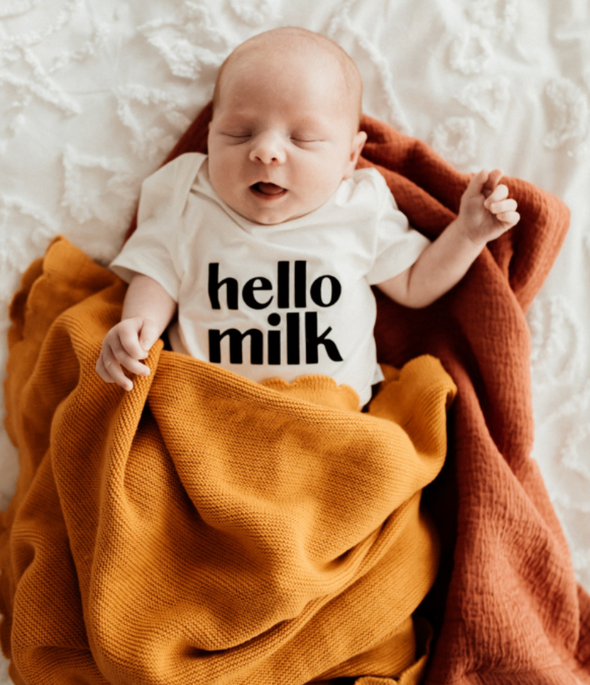 'Hello Milk' (White) Baby Bodysuit (000 Only)