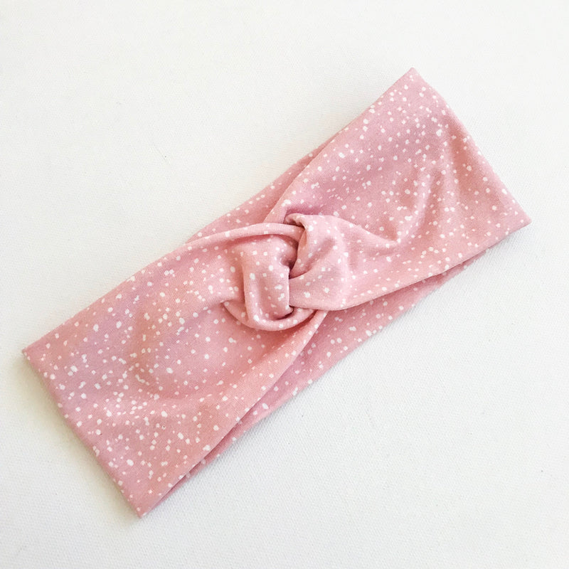 Blush Pink Splatter WideKnot Headband