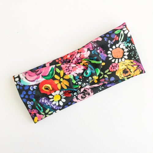 Oil Paint Floral WideKnot Headband