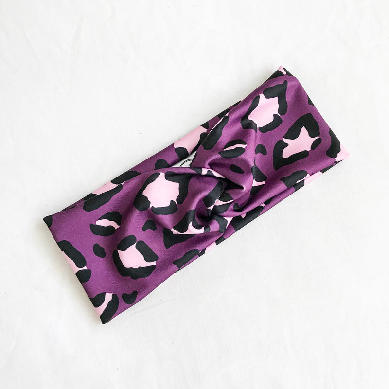 Plum Leopard Active WideKnot Headband