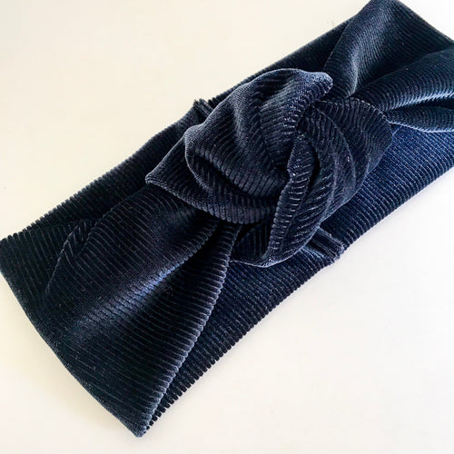 Ribbed Dark Navy Velvet TopKnot Headband
