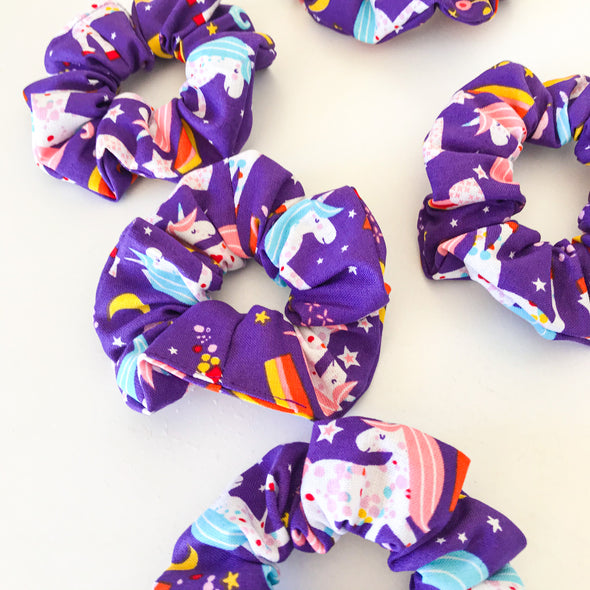 Mini Purple Unicorn Scrunchie
