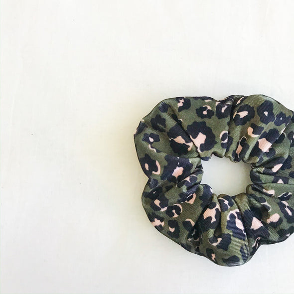 Leopard Velvet Scrunchie (Army Green)