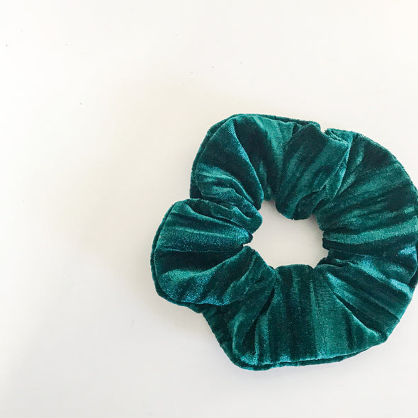 Emerald Crushed Velvet Scrunchie