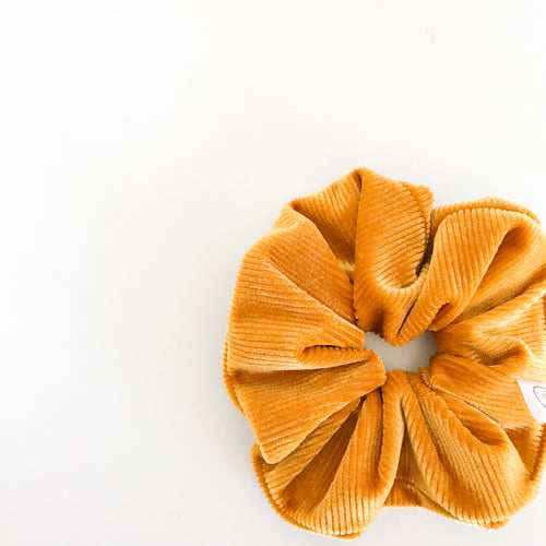 Ribbed Mustard Velvet Scrunchie