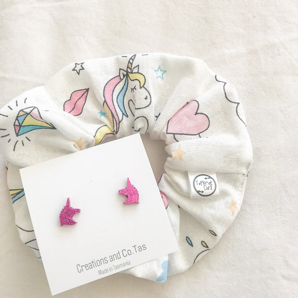 Unicorn Scrunchie + Stud Earring Set