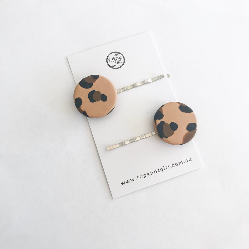 Leopard Bobby Pin - Natural (set of 2)