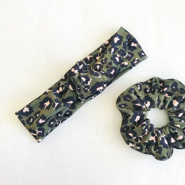 Leopard Velvet TopKnot Headband (Army Green)