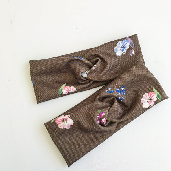 Brown Floral Pop WideKnot Headband