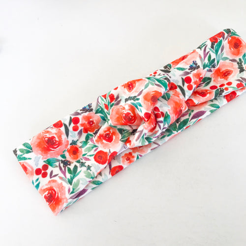 Christmas Floral Pop TopKnot Headband