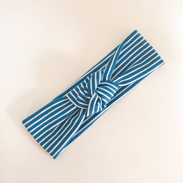 Blue Stripe TopKnot Headband