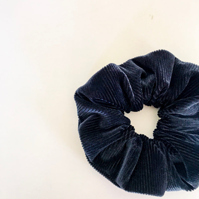 Ribbed Dark Navy Velvet Scrunchie