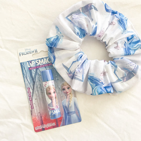 Elsa Frozen Scrunchie + Lip Balm Set