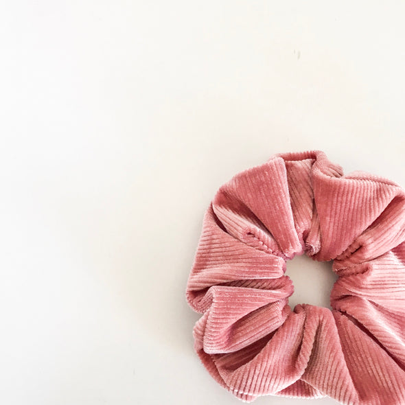 Ribbed Musk Pink Velvet Scrunchie