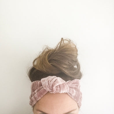 Blush Crushed Velvet TopKnot Headband