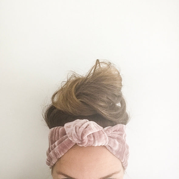 Blush Velvet Luxe TopKnot Headband