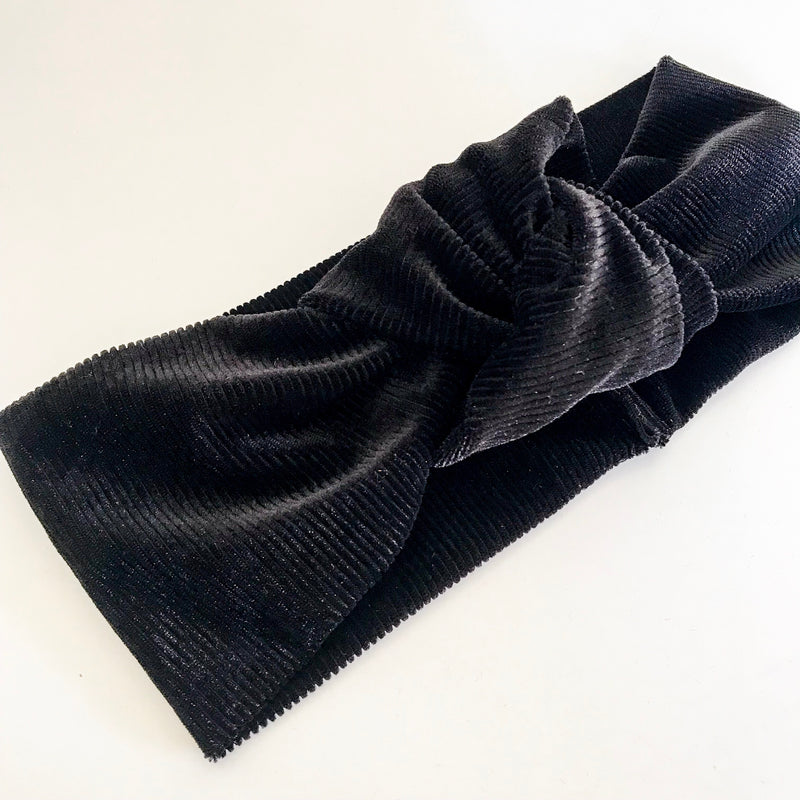 Ribbed Black Velvet TopKnot Headband