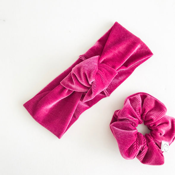 Ribbed Berry Velvet Scrunchie
