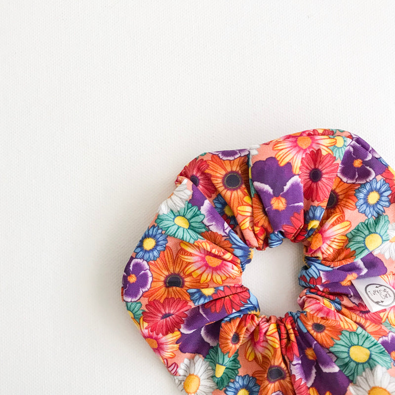 Rainbow Floral Scrunchie