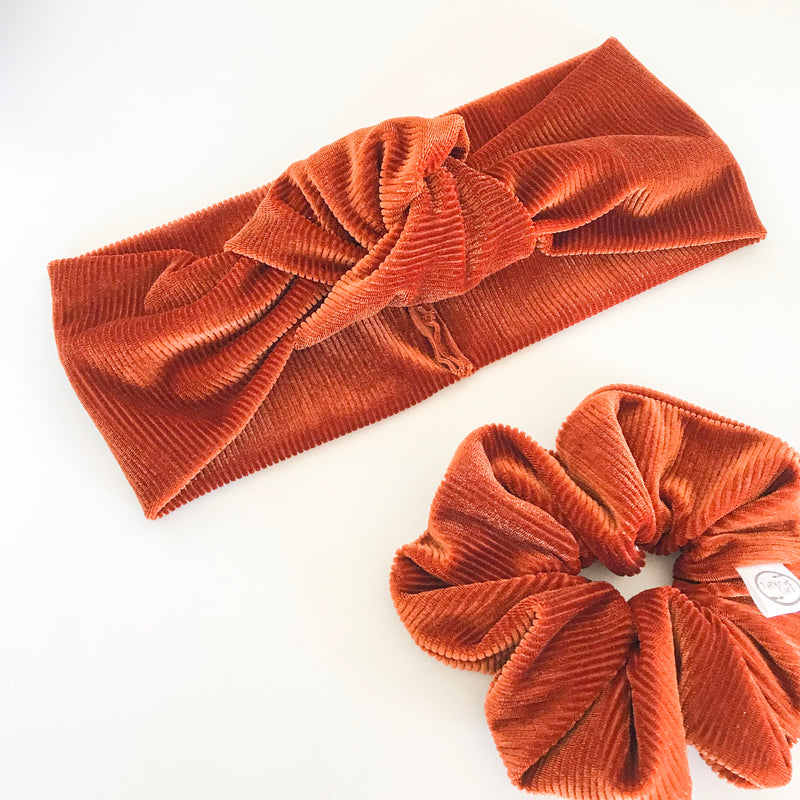 Ribbed Rust Velvet TopKnot Headband