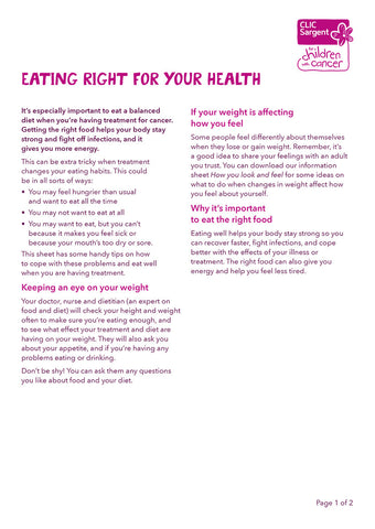 Children's factsheet - Eating right for your health