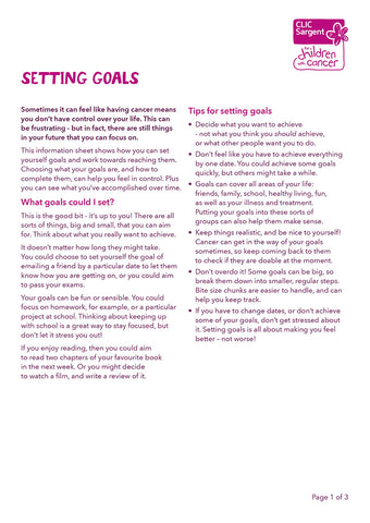 Children's factsheet - Setting goals