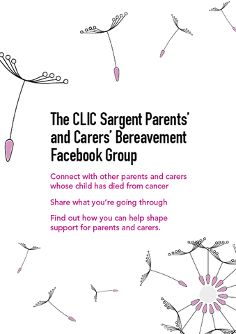 Facebook group leaflet for bereaved parents and carers