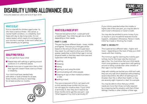 Financial factsheet - Disability Living Allowance (DLA)