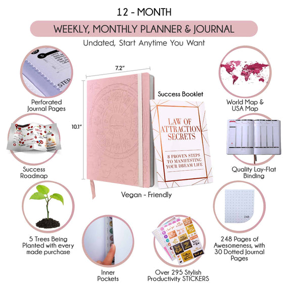 September 2019-2020 Dated Deluxe Weekly Planner (Rose Gold Astrology Design, A5 Size: 5.8 x 8.3 inches)