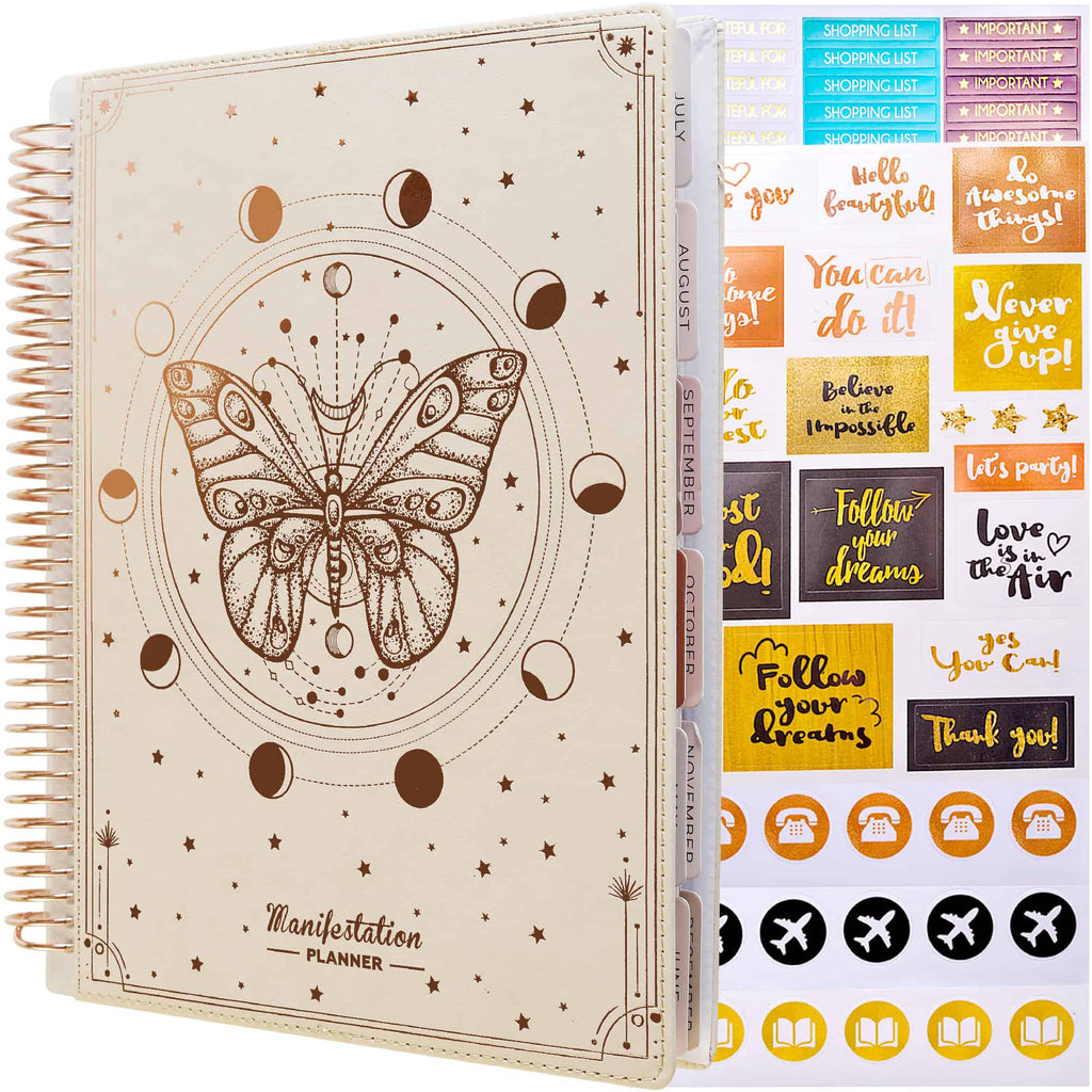 EU Planners: Undated Sunday Start Deluxe Manifestation Planner with Replaceable Covers (7 × 9 inches)