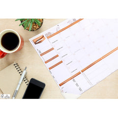 Deluxe Rose Gold Undated Monthly Wall Calendar (50% OFF normal price because of small printing error) *OUTSIDE of USA only*