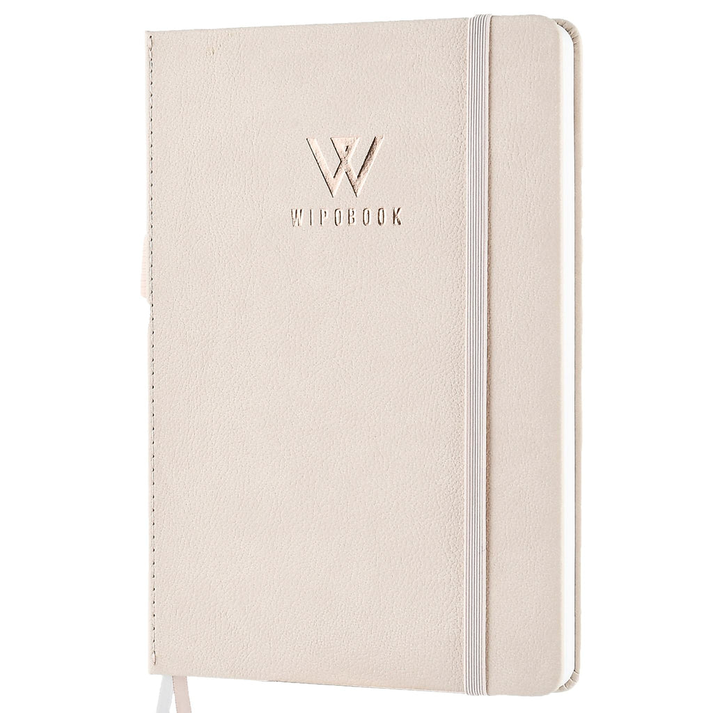 Deluxe Reusable Notebook, Lined Eco-Friendly Journal with 1 WIPOBOOK Erasable Pen (128pages, A5 size (5.8 × 8.3 inches) Write and Wipe Off, Reuse As Much As You Want.