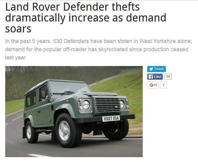 Land Rover Thefts still increasing