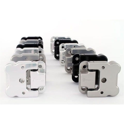 Optimill 110 door hinges, multiple colours on a white background