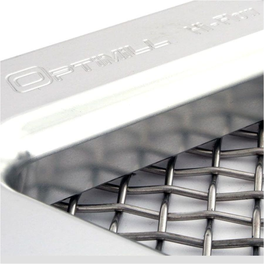 Close up of Optimill logo on a silver side vent