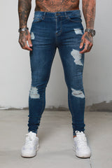 Surreal Ripped and Repaired Blue Jeans