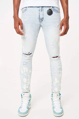 Amicci Portici Bleach Wash with paint splat jeans